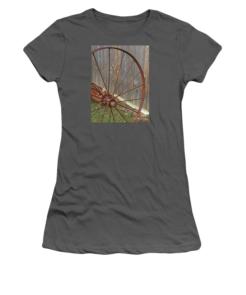 Relic Women's T-Shirt (Athletic Fit) featuring the photograph Rural Relics by Ann Horn