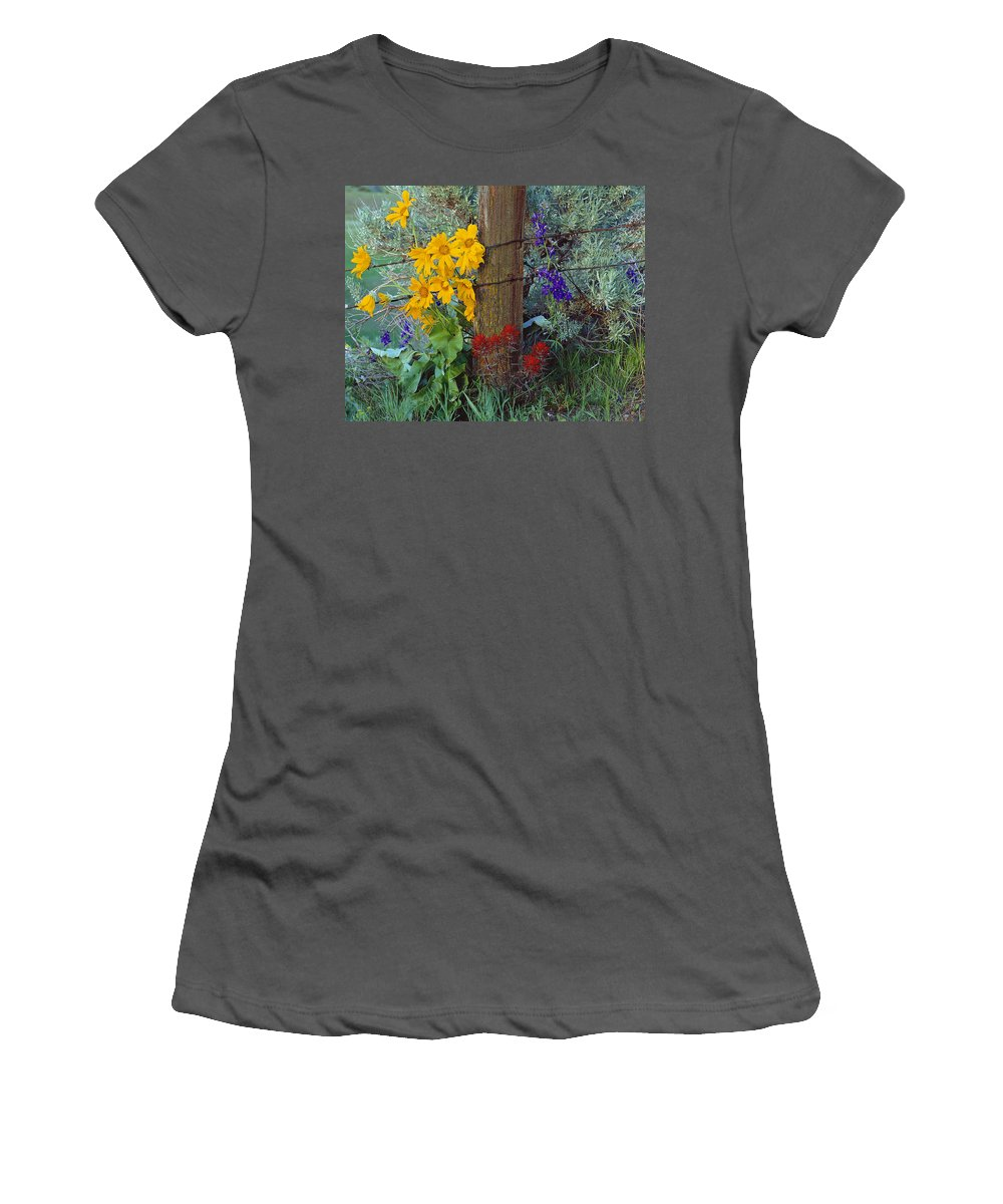 Wildflowers Women's T-Shirt (Athletic Fit) featuring the photograph Rural Spring by Leland D Howard