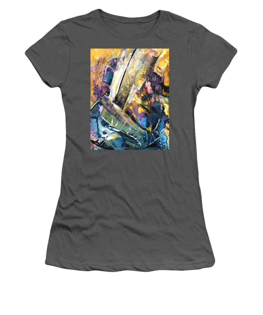 Abstract Women's T-Shirt (Athletic Fit) featuring the painting Sailing To Atlantis by Miki De Goodaboom