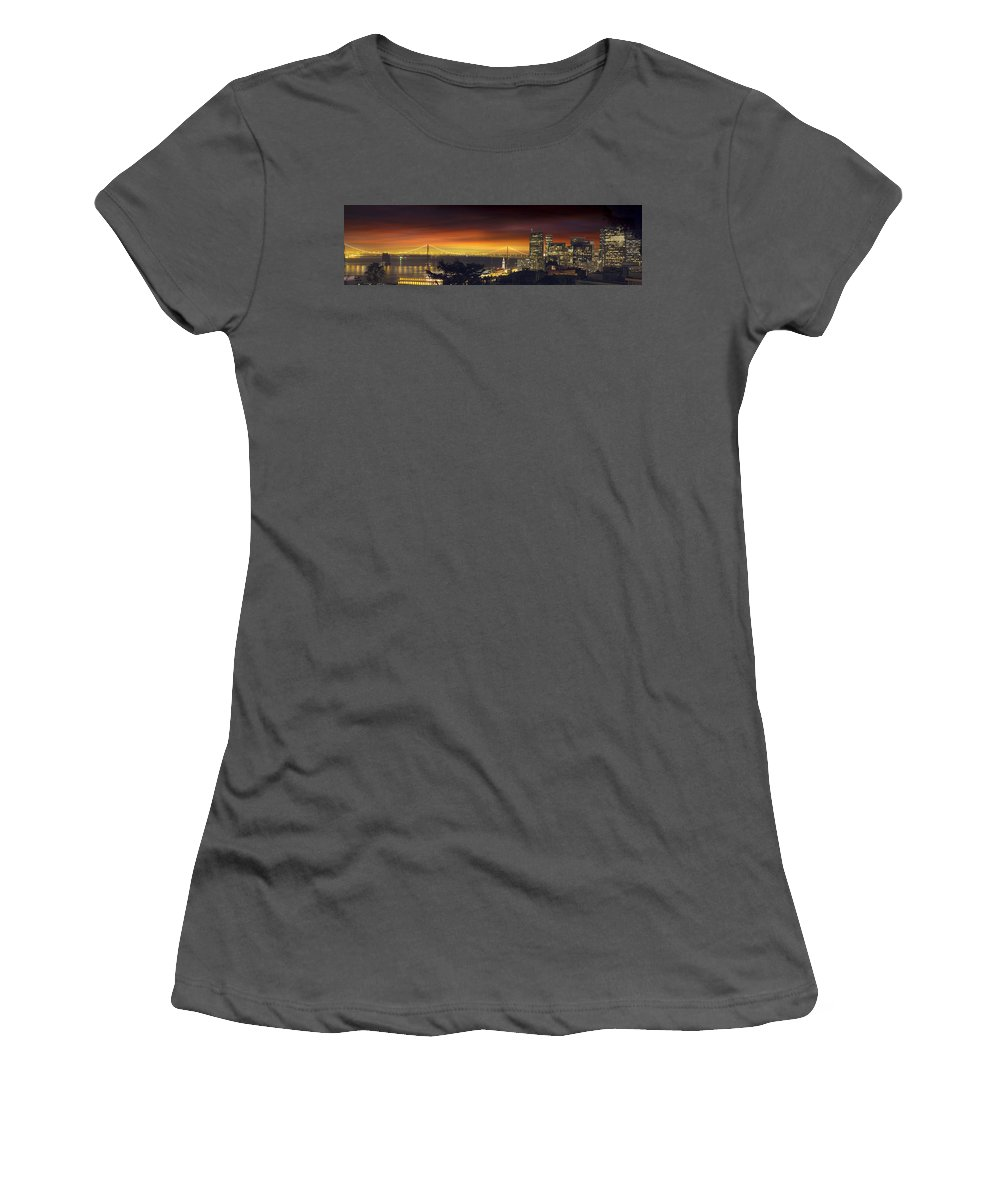 San Women's T-Shirt (Athletic Fit) featuring the photograph San Francisco Oakland Bay Bridge At Sunset by Jit Lim