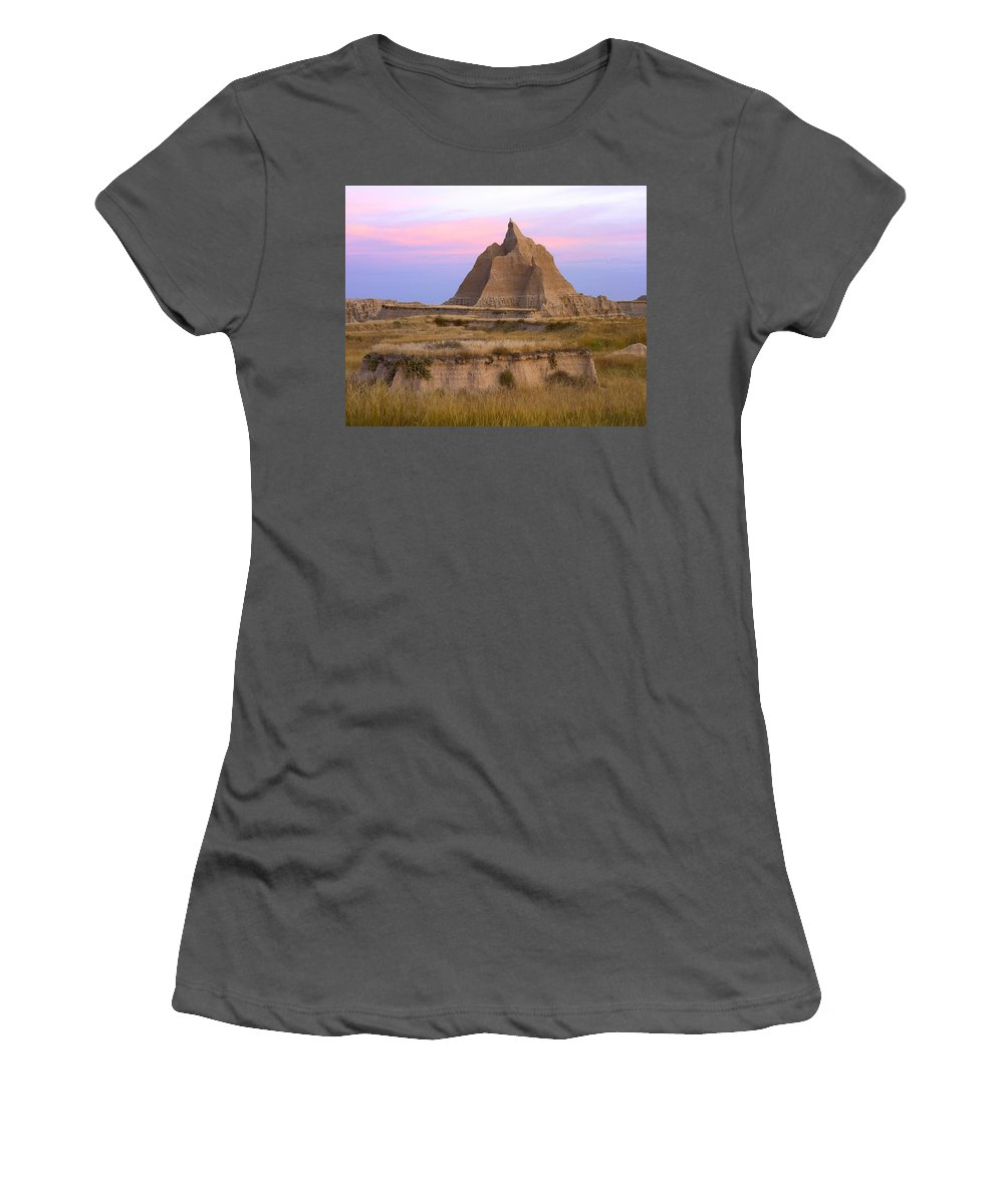 Feb0514 Women's T-Shirt (Athletic Fit) featuring the photograph Sandstone Grassland Badlands South by Tim Fitzharris