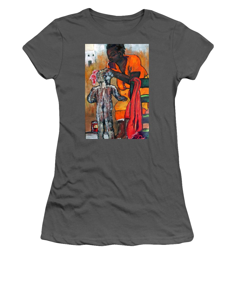 Mom Bathing Boy Women's T-Shirt (Athletic Fit) featuring the painting Saturday Night Bath by Peggy Blood