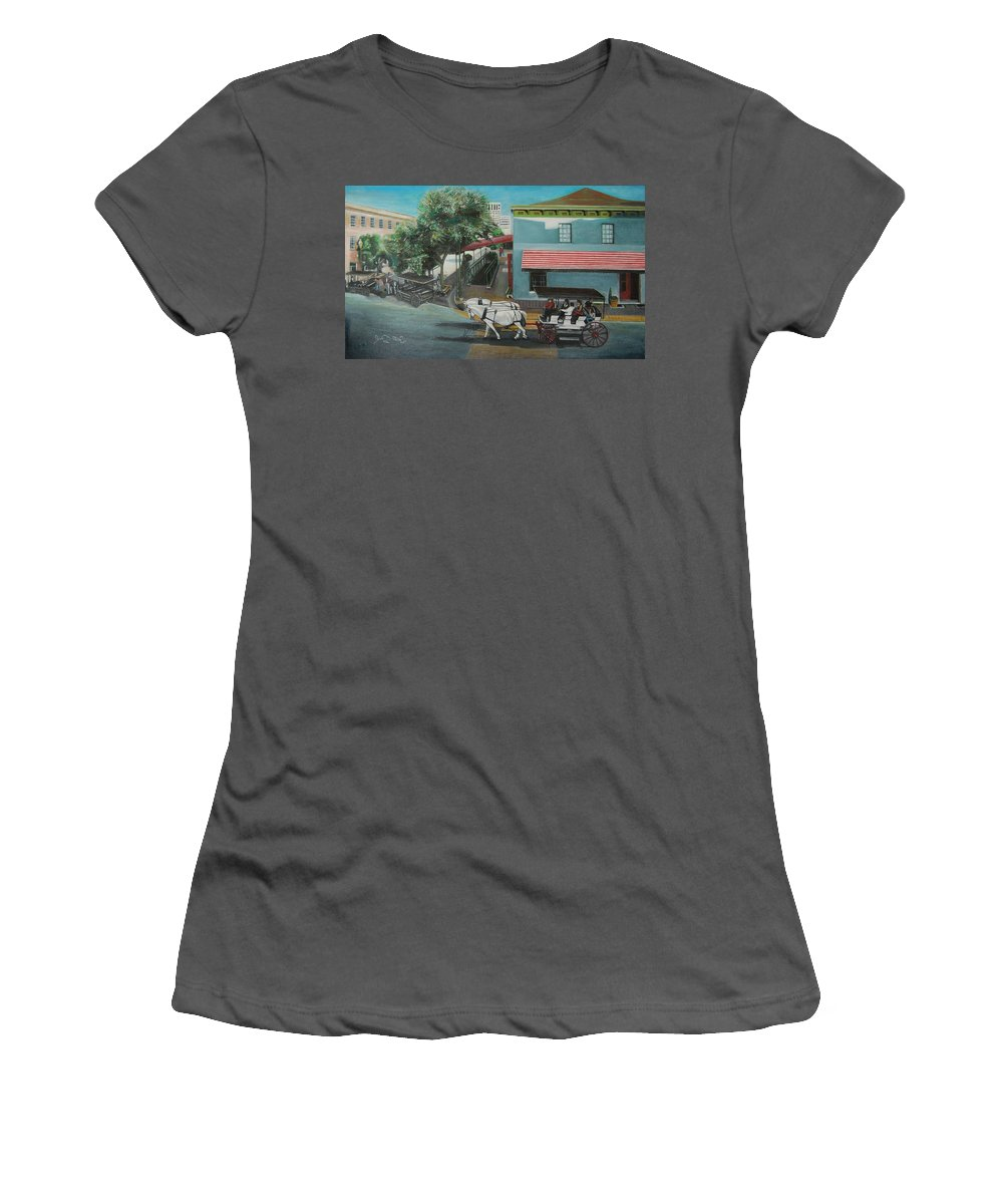 Women's T-Shirt (Athletic Fit) featuring the painting Savannah City Market by Jude Darrien