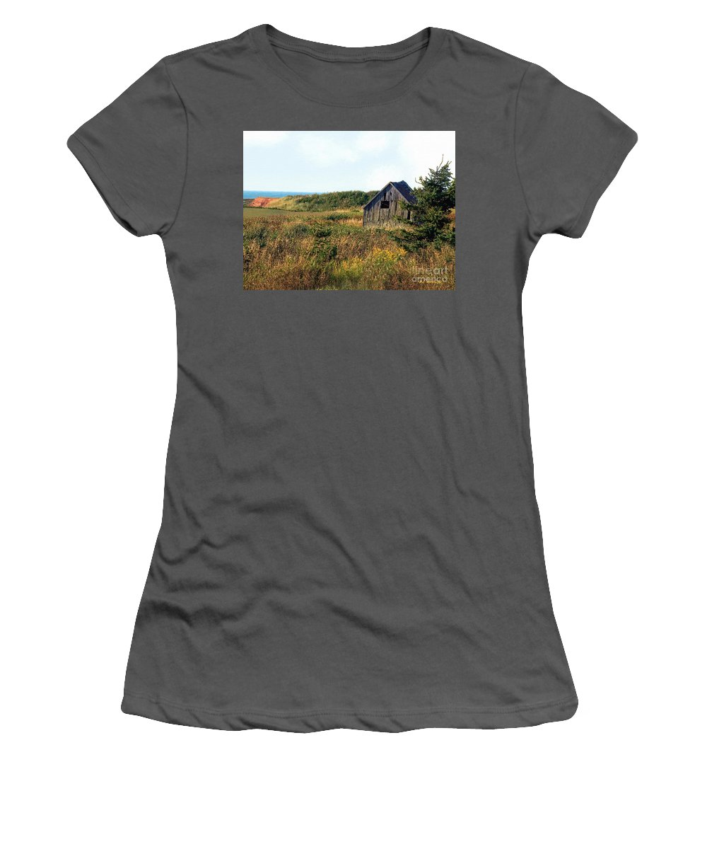 Landscape Women's T-Shirt (Athletic Fit) featuring the painting Seaside Shed - September by RC DeWinter