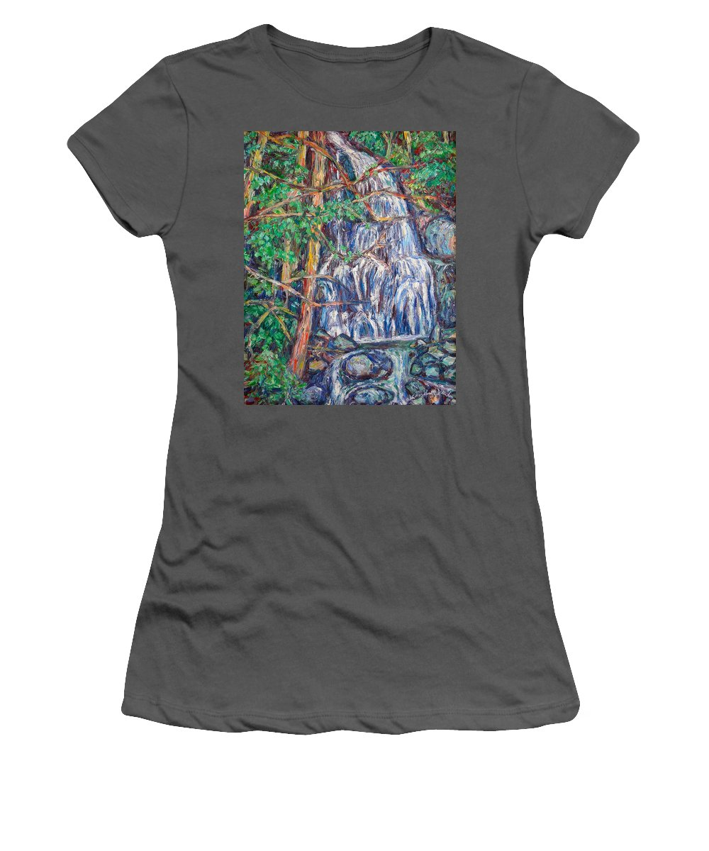 Waterfall Women's T-Shirt (Athletic Fit) featuring the painting Secluded Waterfall by Kendall Kessler