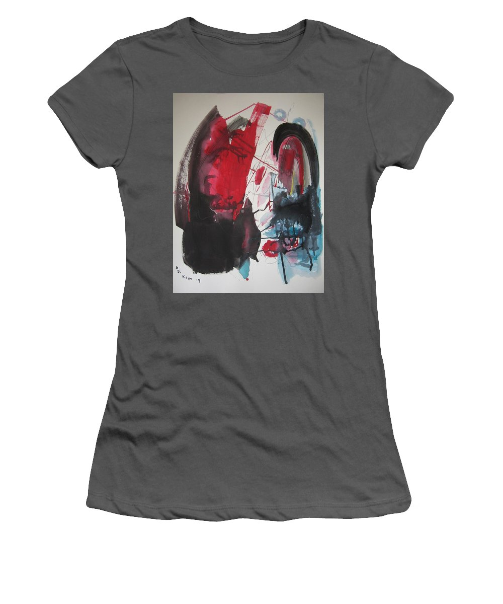 Red Paintings Women's T-Shirt (Athletic Fit) featuring the painting Seem To Happen Suddenly Original Abstract Colorful Landscape Painting For Sale Red Blue Green by Seon-Jeong Kim