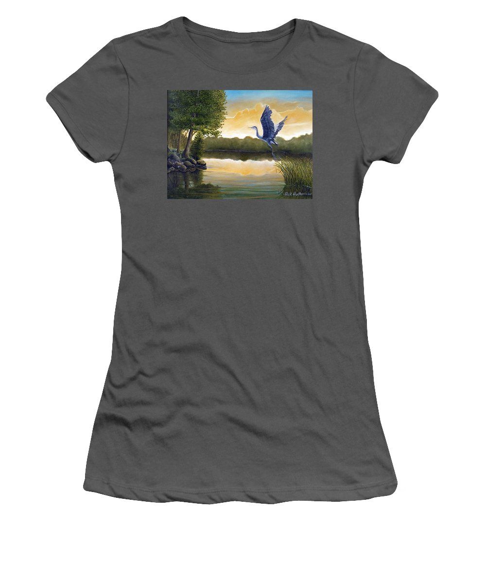 Rick Huotari Women's T-Shirt (Athletic Fit) featuring the painting Serenity by Rick Huotari