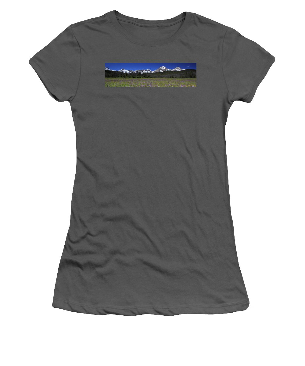 Idaho Women's T-Shirt (Athletic Fit) featuring the photograph Showy Penstemon Wildflowers Sawtooth Mountains by Ed Riche