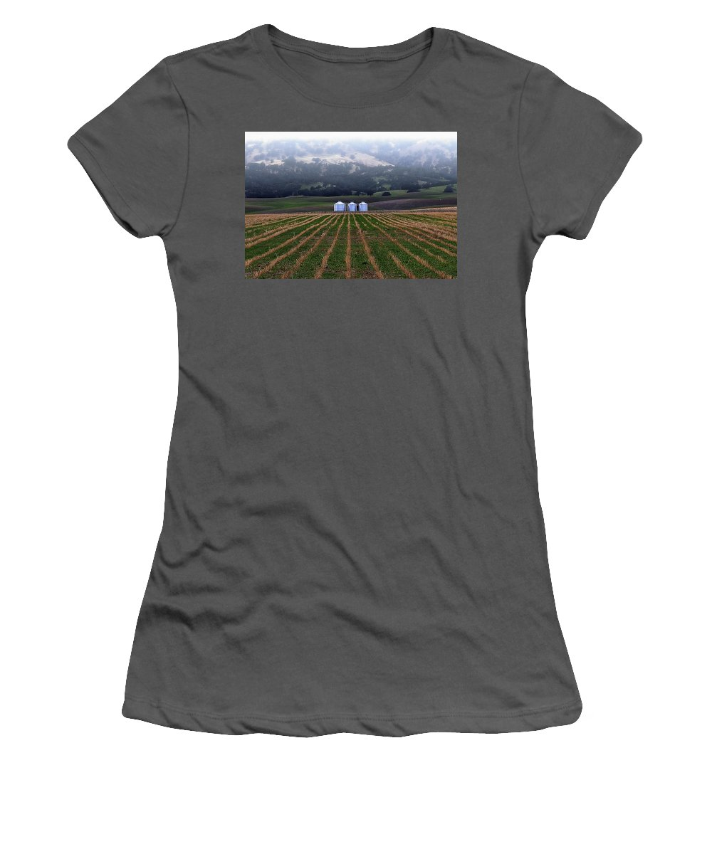 Silos Women's T-Shirt (Athletic Fit) featuring the photograph Silos In Dunnigan Hills by Robert Woodward