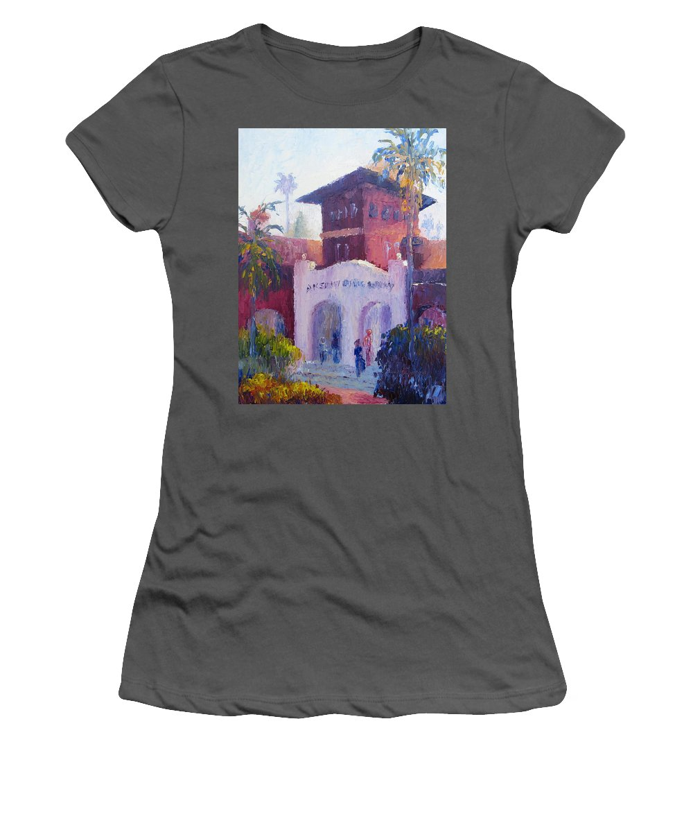 Smiley Library Women's T-Shirt (Athletic Fit) featuring the painting Smiley Library People by Terry Chacon
