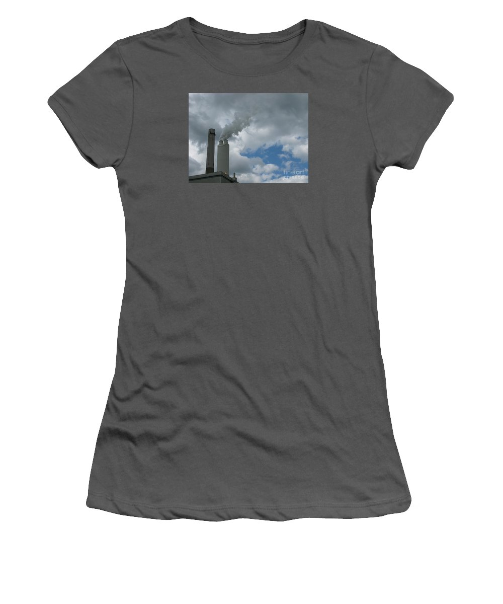 Smoke Stack Women's T-Shirt (Athletic Fit) featuring the photograph Smoking Stack by Ann Horn