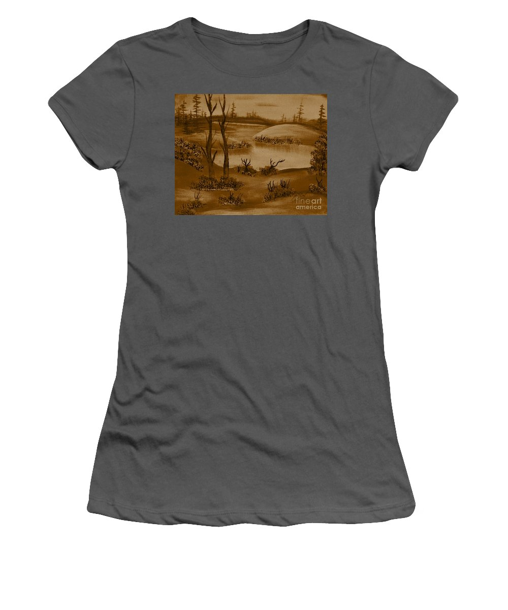 Solitude Women's T-Shirt (Athletic Fit) featuring the painting Solitude Of Winter by Barbara Griffin