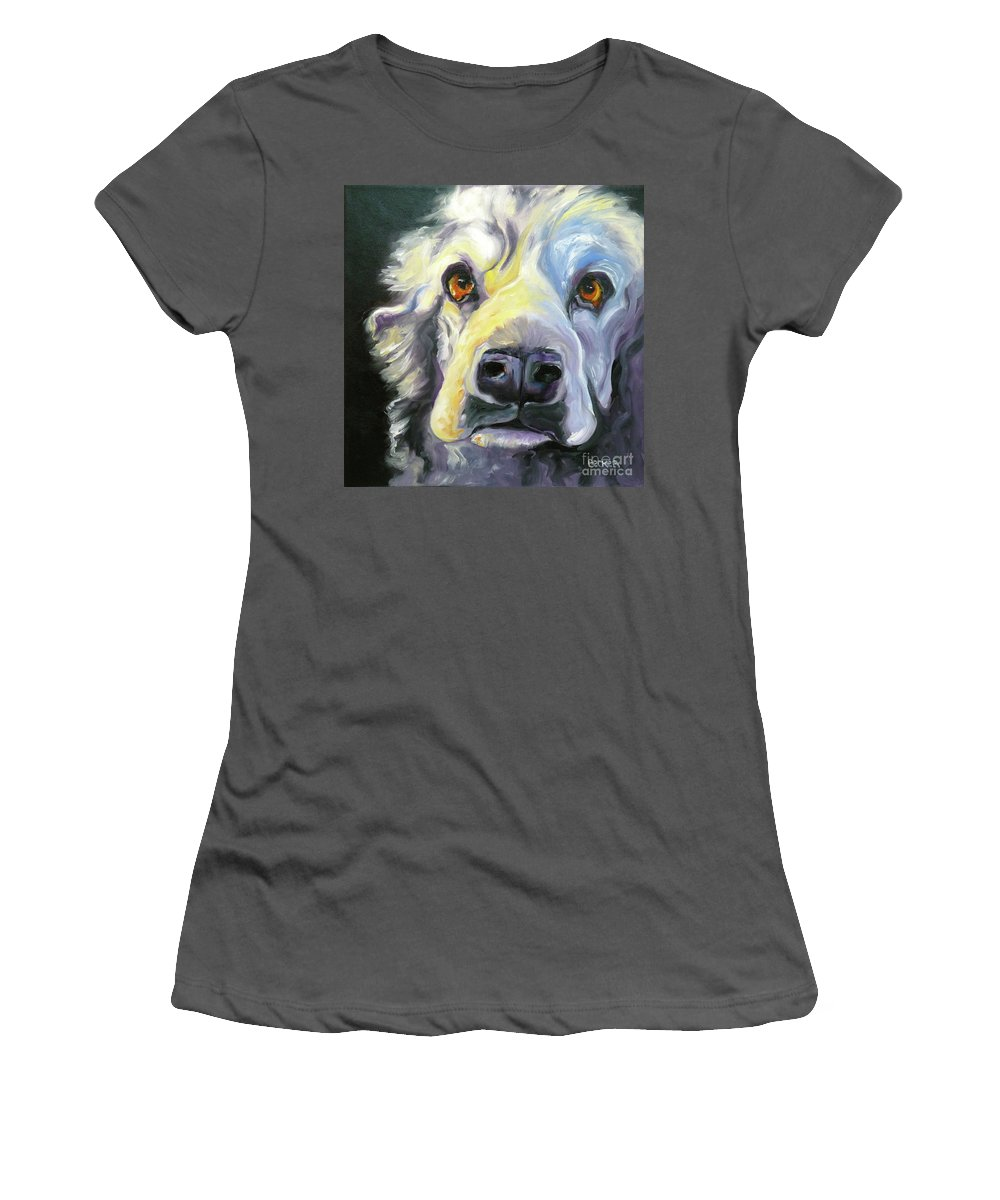 Dogs Women's T-Shirt (Athletic Fit) featuring the painting Spaniel In Thought by Susan A Becker