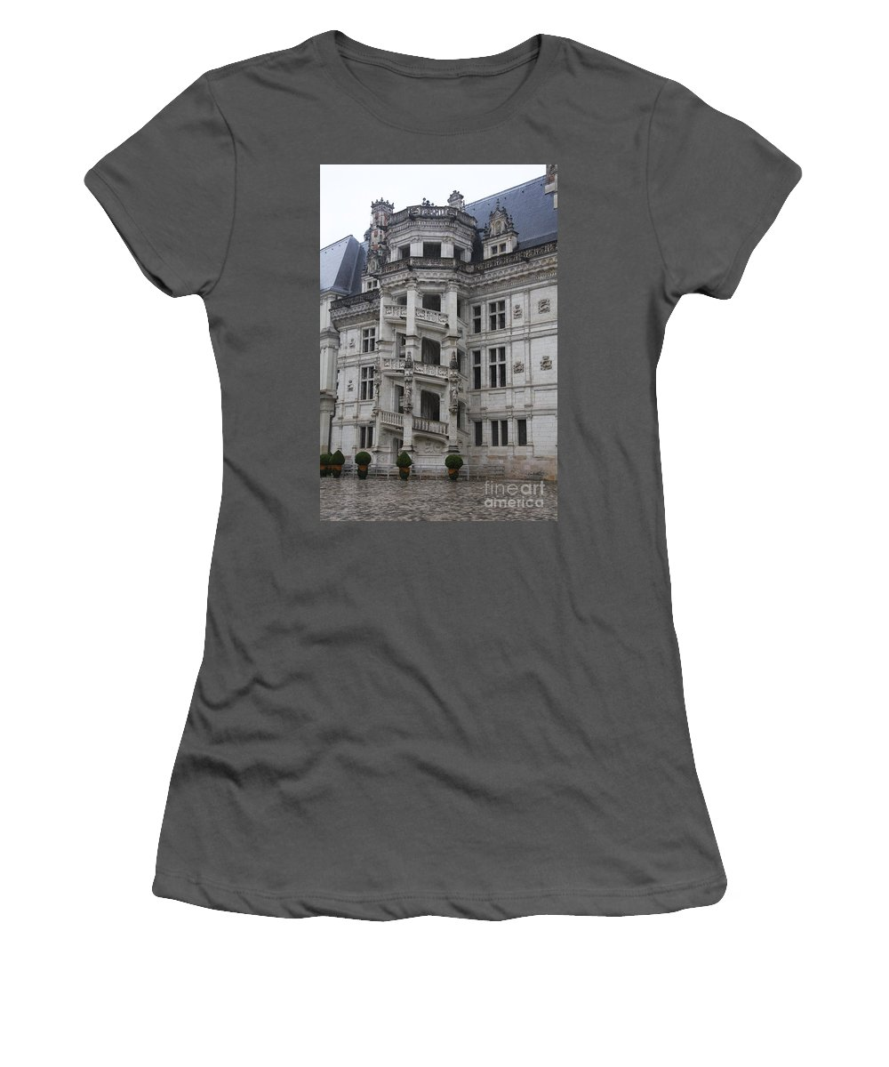 Stairs Women's T-Shirt (Athletic Fit) featuring the photograph Spiral Staircase Chateau Blois by Christiane Schulze Art And Photography