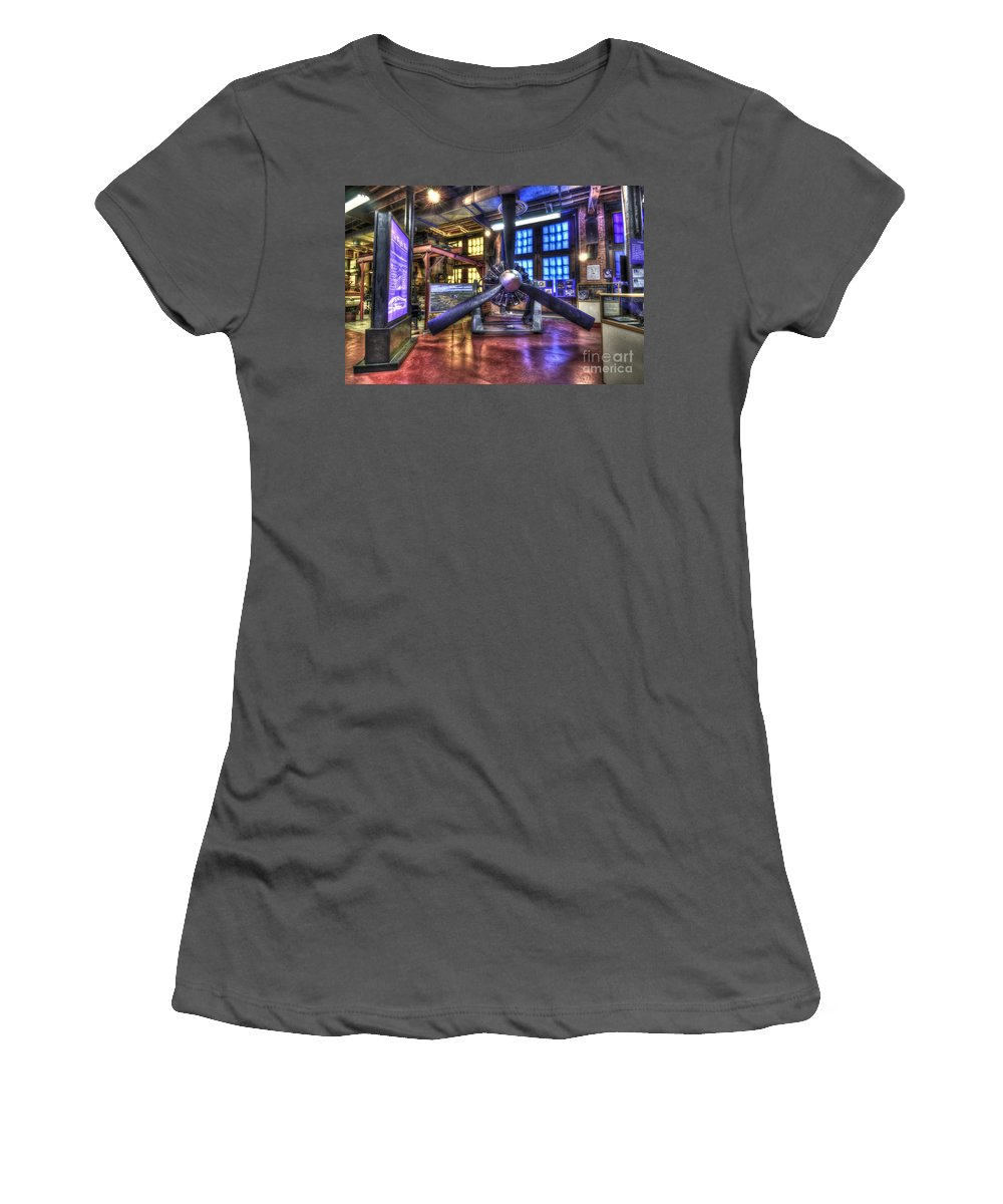 Hdr Women's T-Shirt (Athletic Fit) featuring the photograph Spirit Of St.louis Engine by Anthony Sacco
