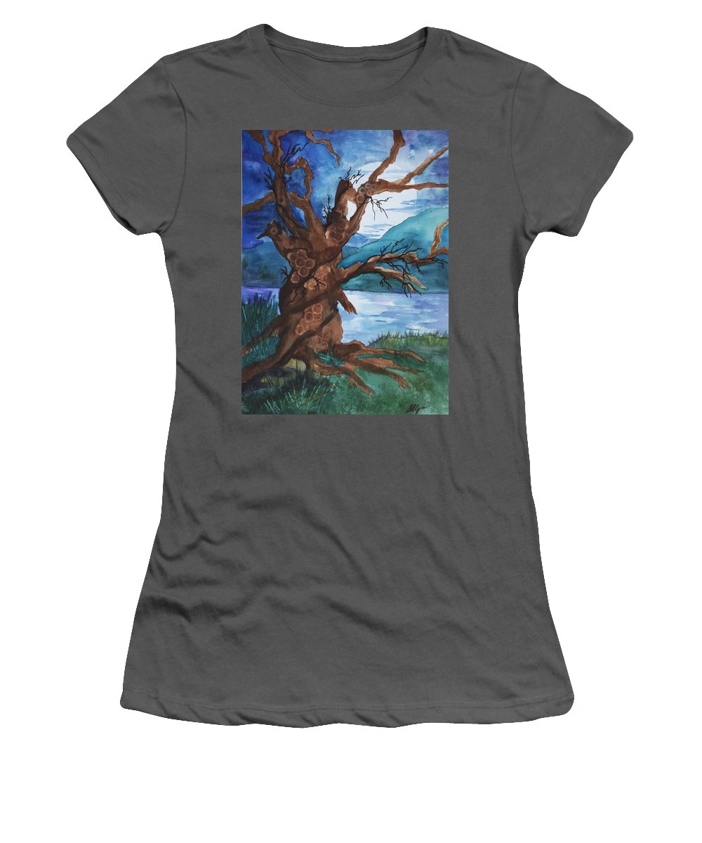 Tree Women's T-Shirt (Athletic Fit) featuring the painting Spirit Tree by Ellen Levinson