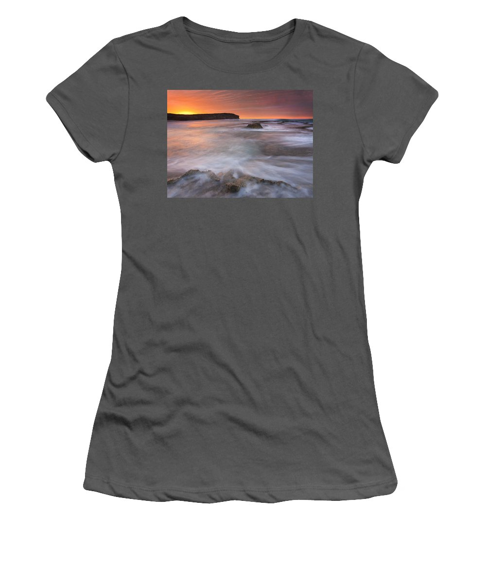 Sunrise Women's T-Shirt (Athletic Fit) featuring the photograph Splitting The Tides by Mike Dawson