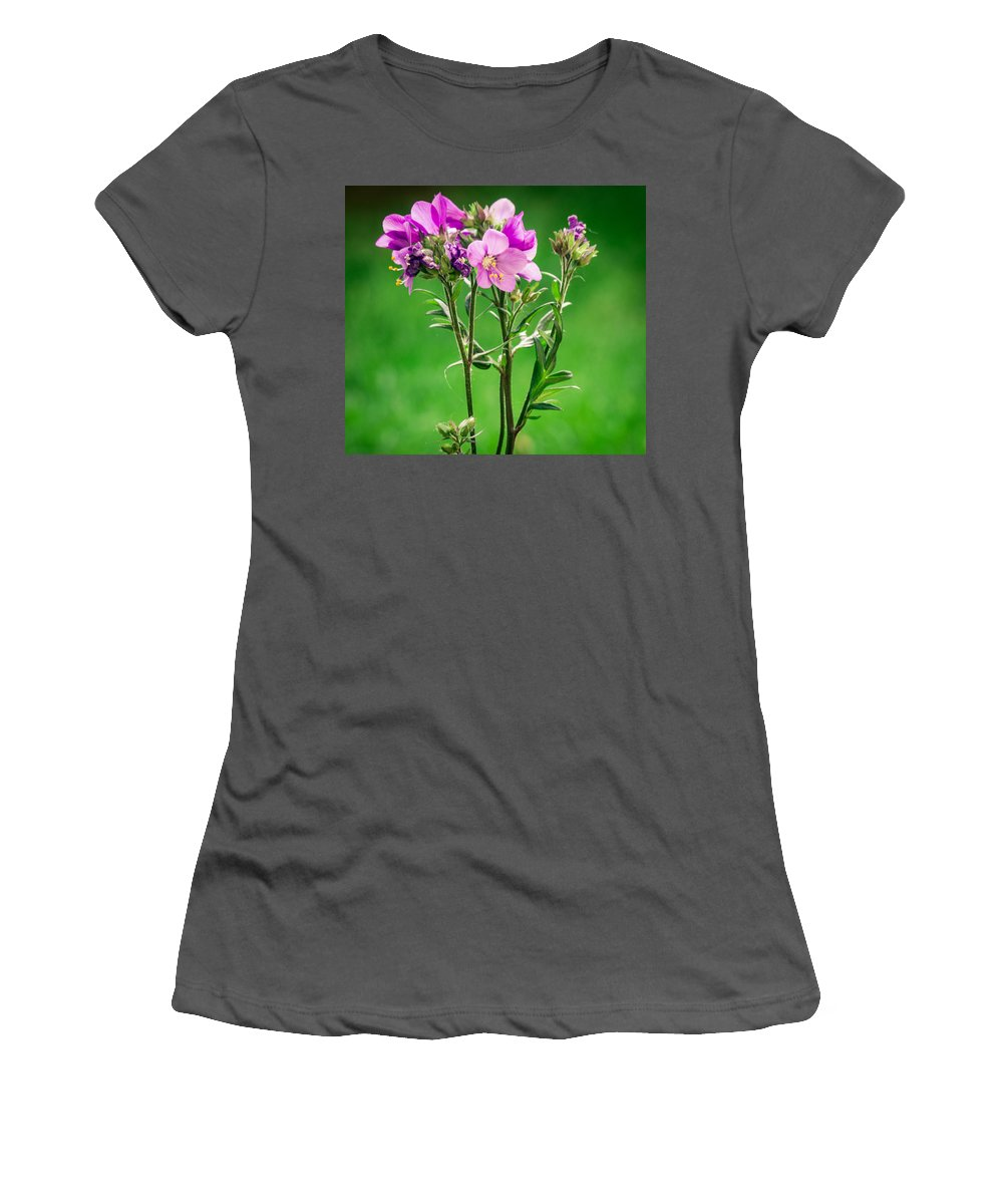 Purple Flowers Women's T-Shirt (Athletic Fit) featuring the photograph Spring Blossoms by Sara Frank