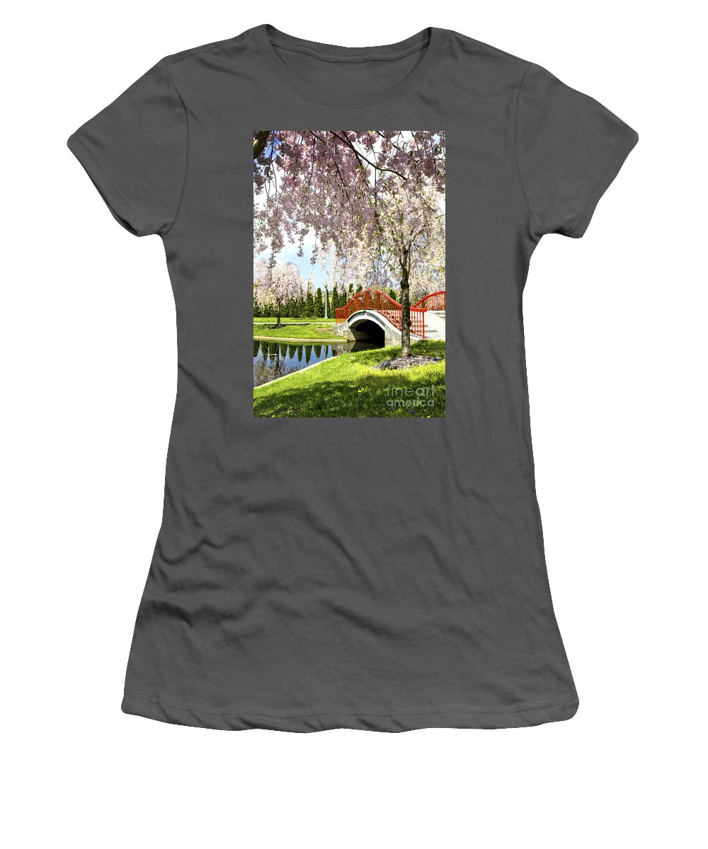 Trees Women's T-Shirt (Athletic Fit) featuring the photograph Spring Walk Around Lake by Paul W Faust - Impressions of Light
