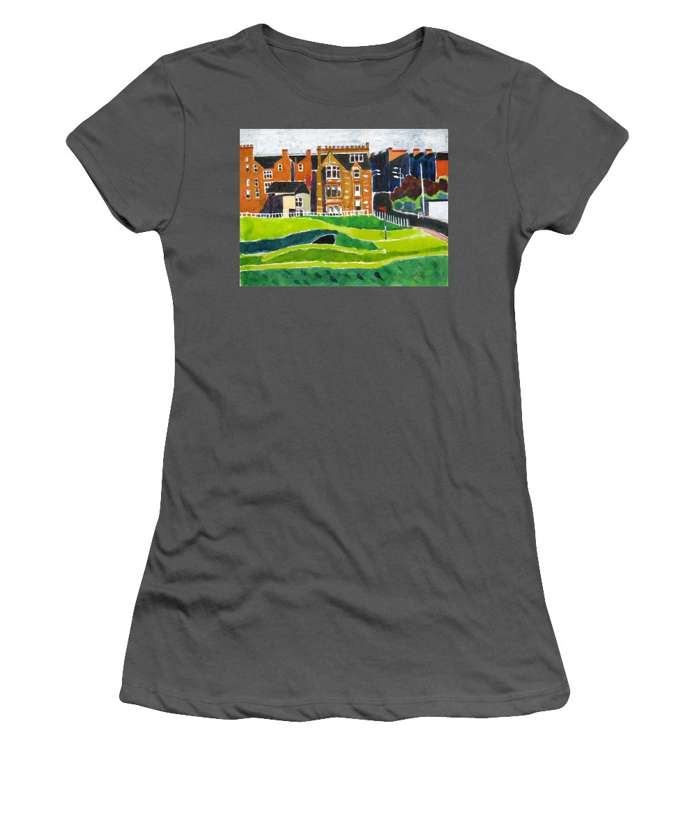 St Andrews Women's T-Shirt (Athletic Fit) featuring the painting St Andrews 17 by Lesley Giles