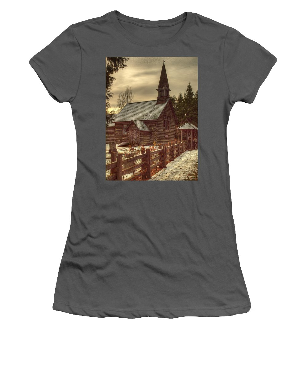 Church Women's T-Shirt (Athletic Fit) featuring the photograph St Anne's Church In Winter by Randy Hall