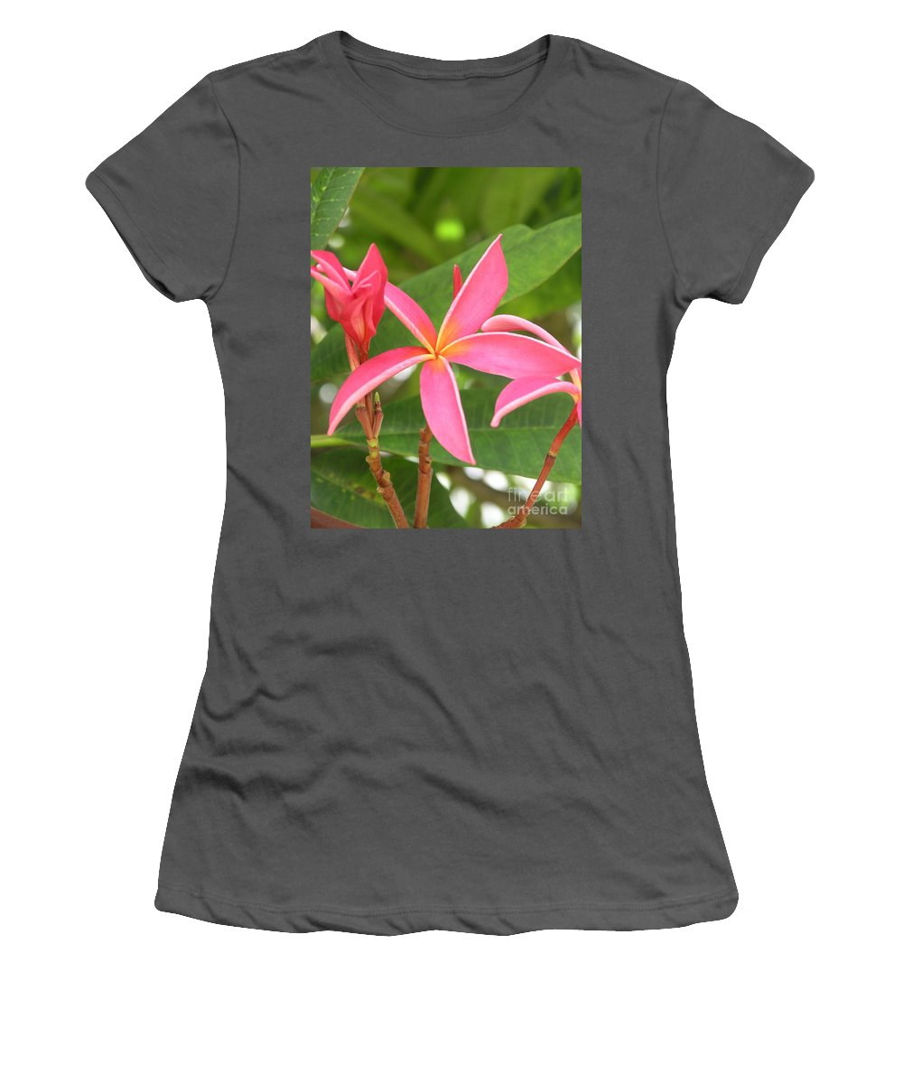 Plumeria Women's T-Shirt (Athletic Fit) featuring the photograph Starburst Plumeria by Mary Deal