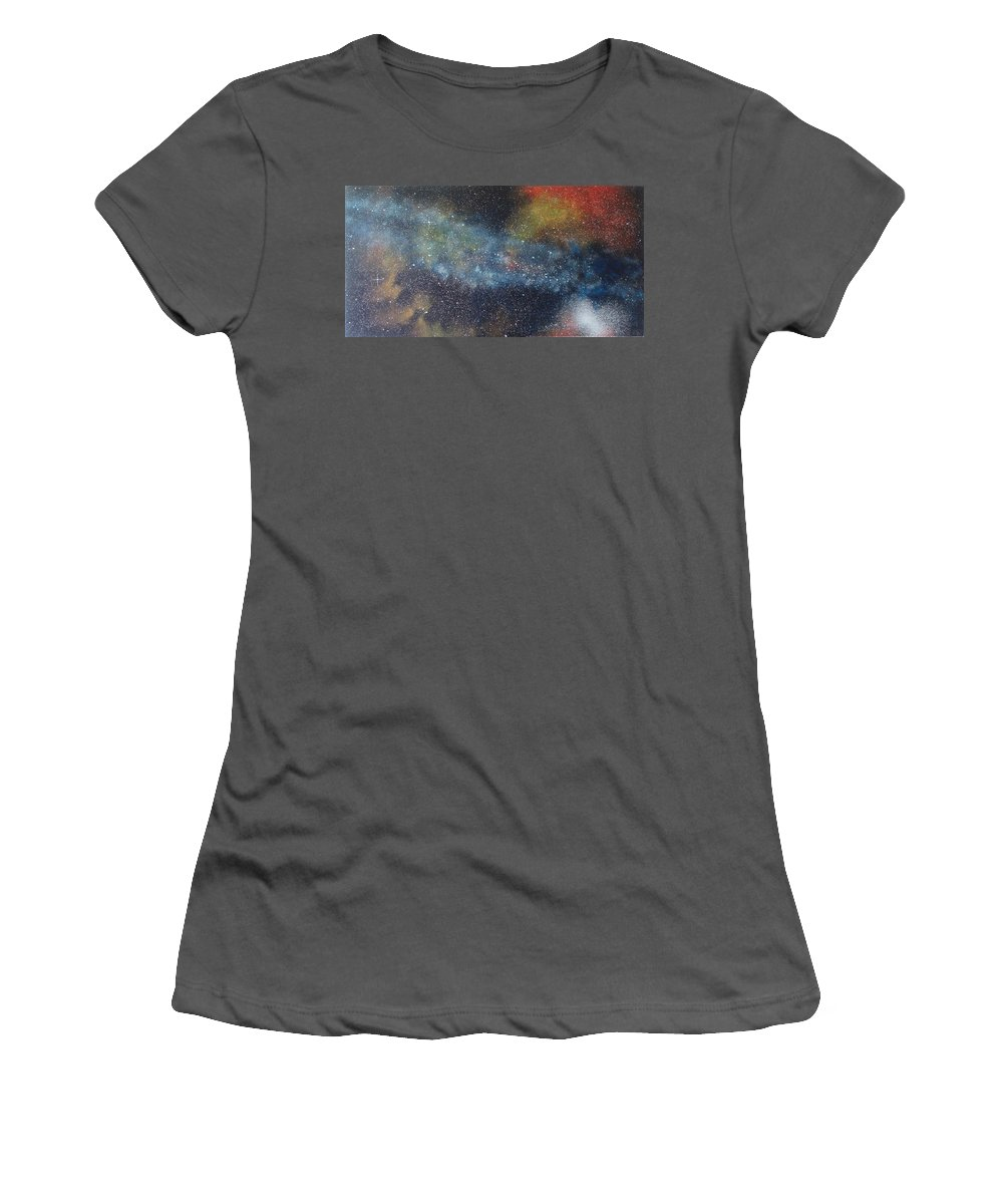 Space;stars;starry;nebula;spiral;galaxy;star Cluster;celestial;cosmos;universe;orgasm Women's T-Shirt (Athletic Fit) featuring the painting Stargasm by Sean Connolly