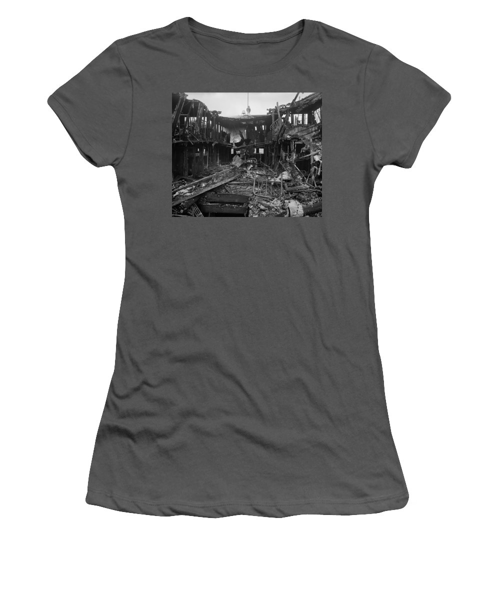 1910 Women's T-Shirt (Athletic Fit) featuring the photograph Steamboat Fire, C1910 by Granger