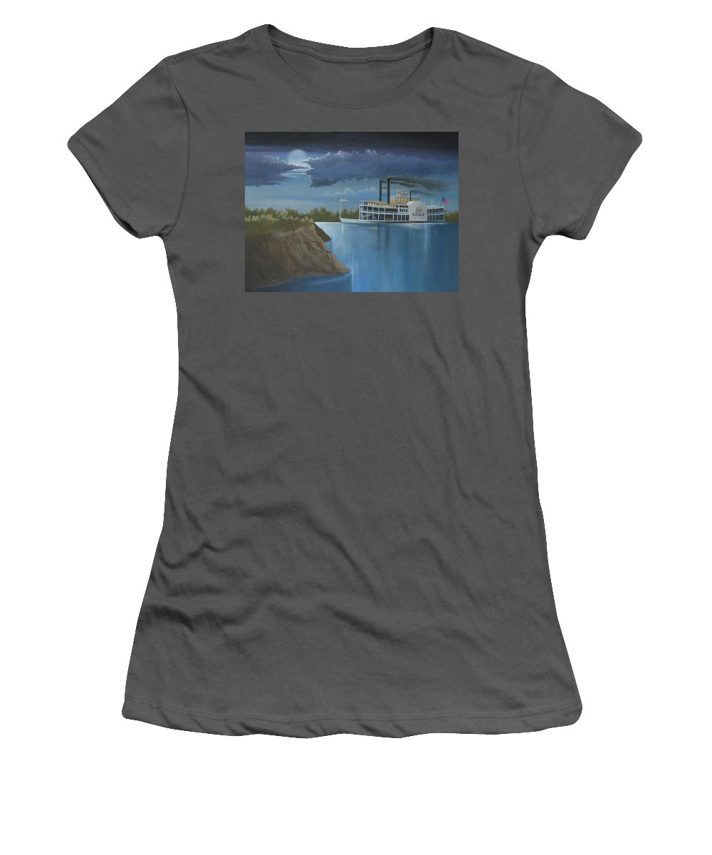 Steamboat Women's T-Shirt (Athletic Fit) featuring the painting Steamboat On The Mississippi by Stuart Swartz
