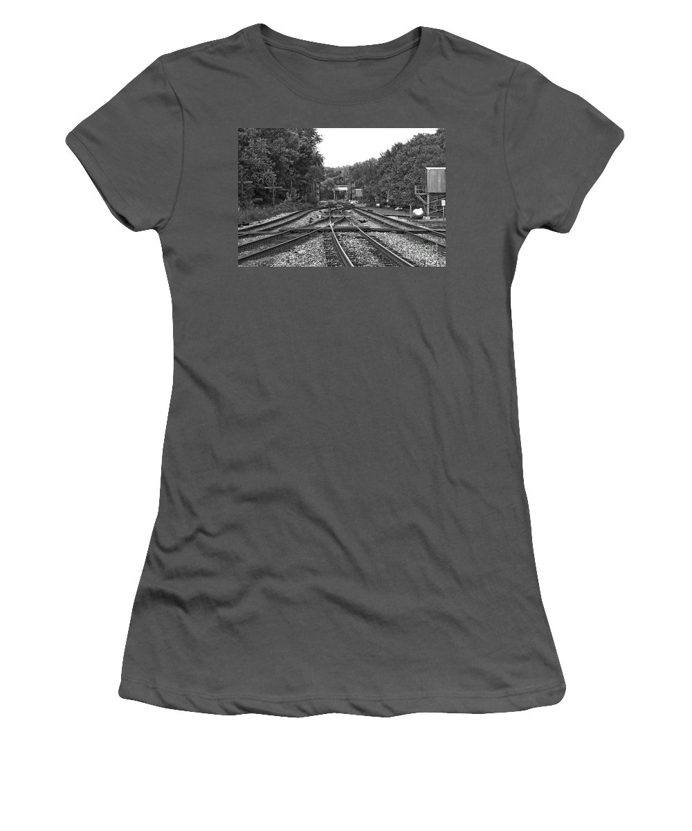 Railroad Women's T-Shirt (Athletic Fit) featuring the photograph Steel Rail Intersections.  Point Of Rocks Md by Thomas Marchessault