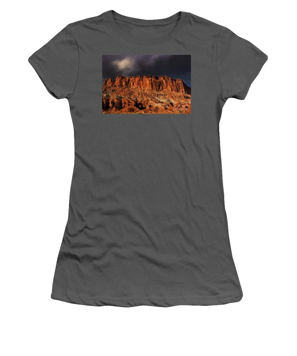 North America Women's T-Shirt (Athletic Fit) featuring the photograph Storm Clouds Capitol Reef National Park Utah by Dave Welling