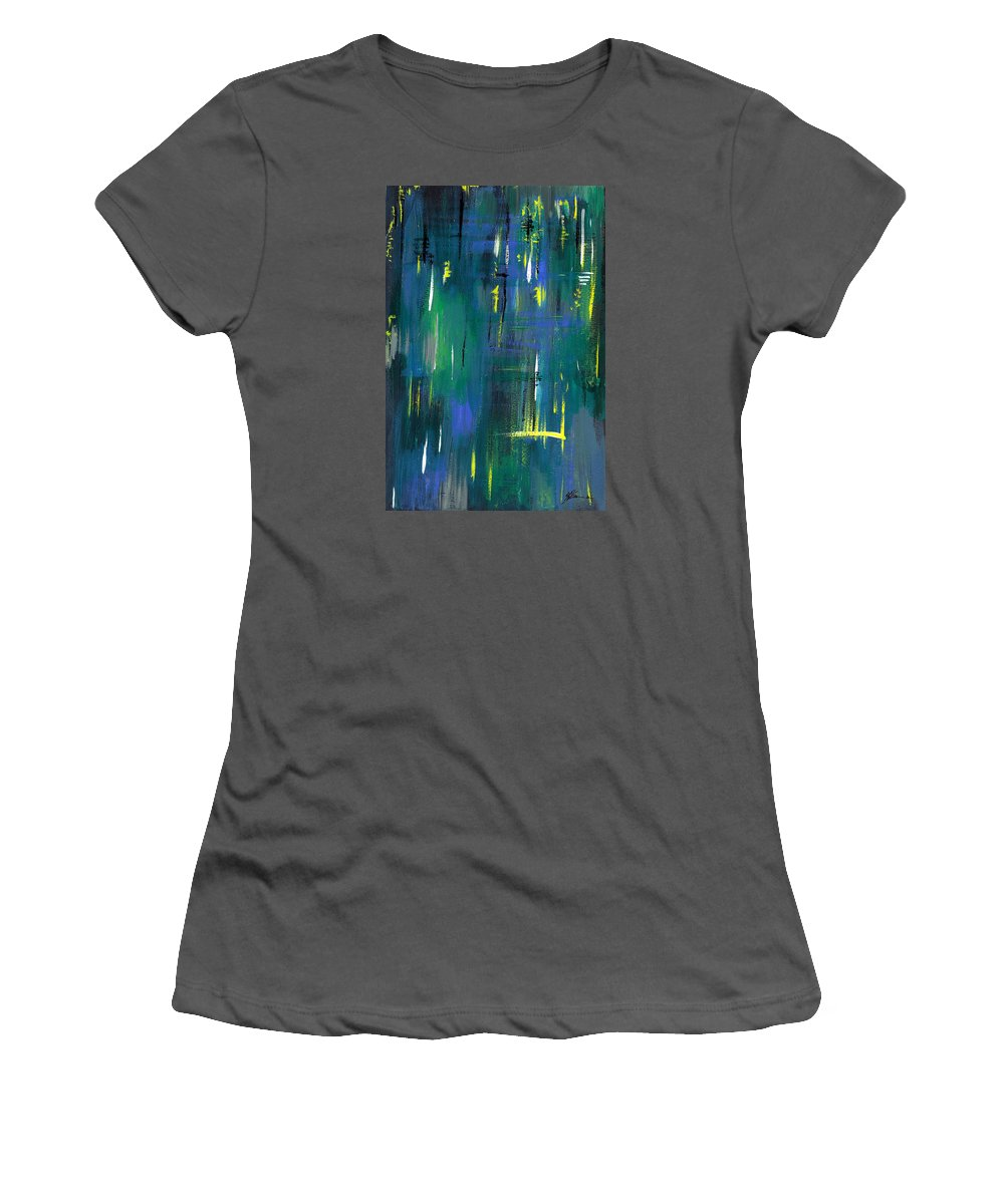 Abstract Women's T-Shirt (Athletic Fit) featuring the painting Strokes by Aparna Raghunathan