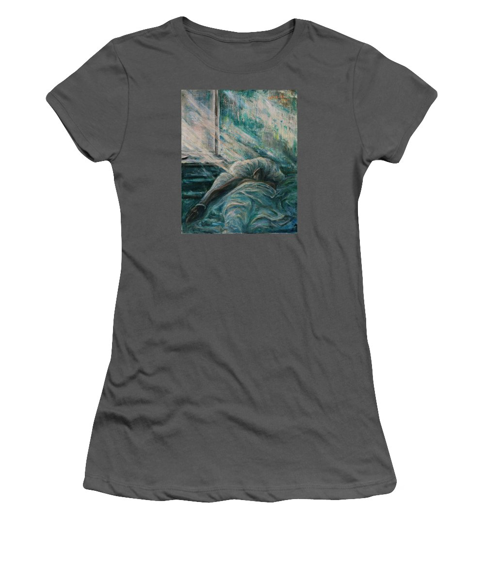 Figurative Women's T-Shirt (Athletic Fit) featuring the painting Struggling... by Xueling Zou
