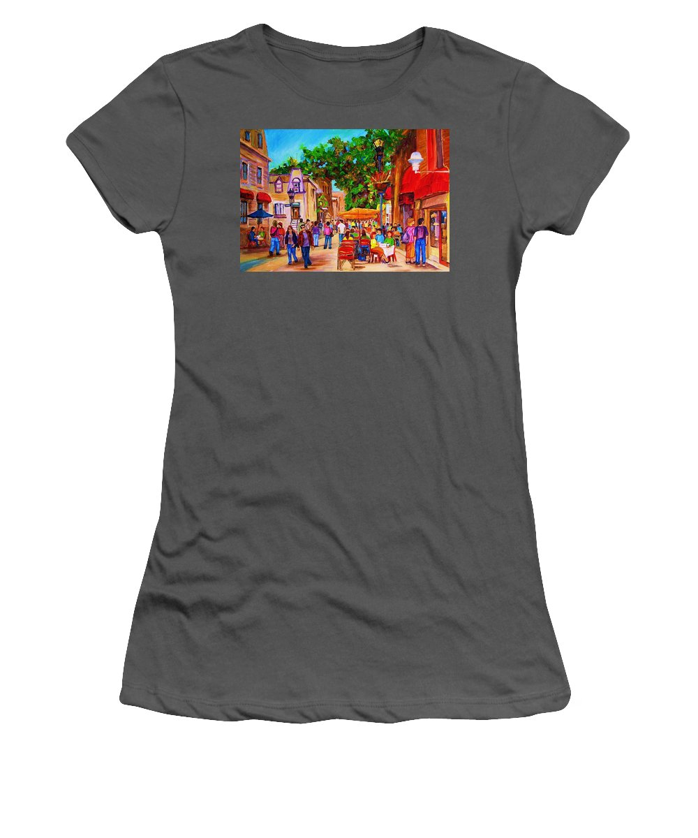 Summer Cafes Montreal Street Scenes Women's T-Shirt (Athletic Fit) featuring the painting Summer Cafes by Carole Spandau