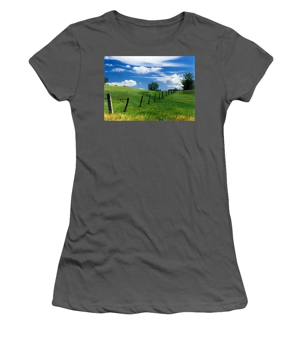 Summer Landscape Women's T-Shirt (Athletic Fit) featuring the photograph Summer Landscape by Steve Karol