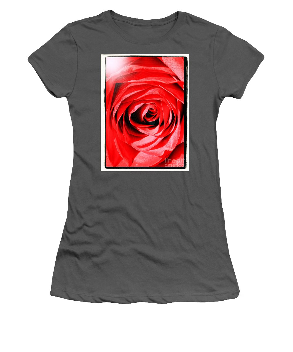 Red Rose Women's T-Shirt (Athletic Fit) featuring the photograph Sunburst On Red Rose With Framing by Carol Groenen