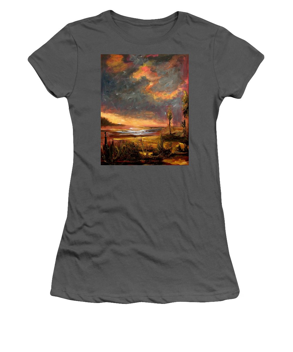 Original Women's T-Shirt (Athletic Fit) featuring the painting Sunrise With Birds by Julianne Felton