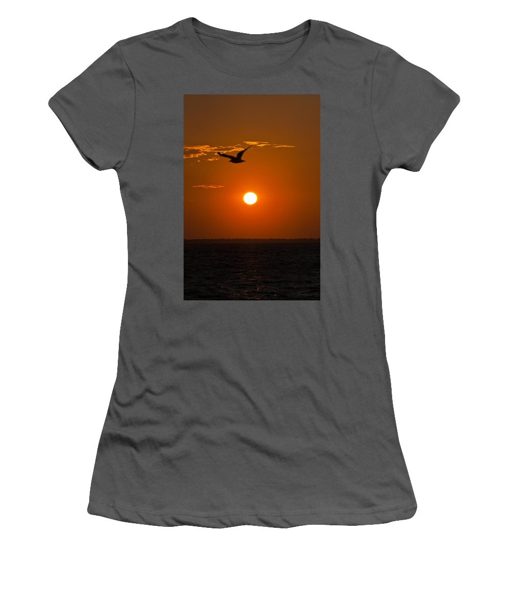 Sunset Women's T-Shirt (Athletic Fit) featuring the photograph Sunset Bird by Sheri Bartoszek