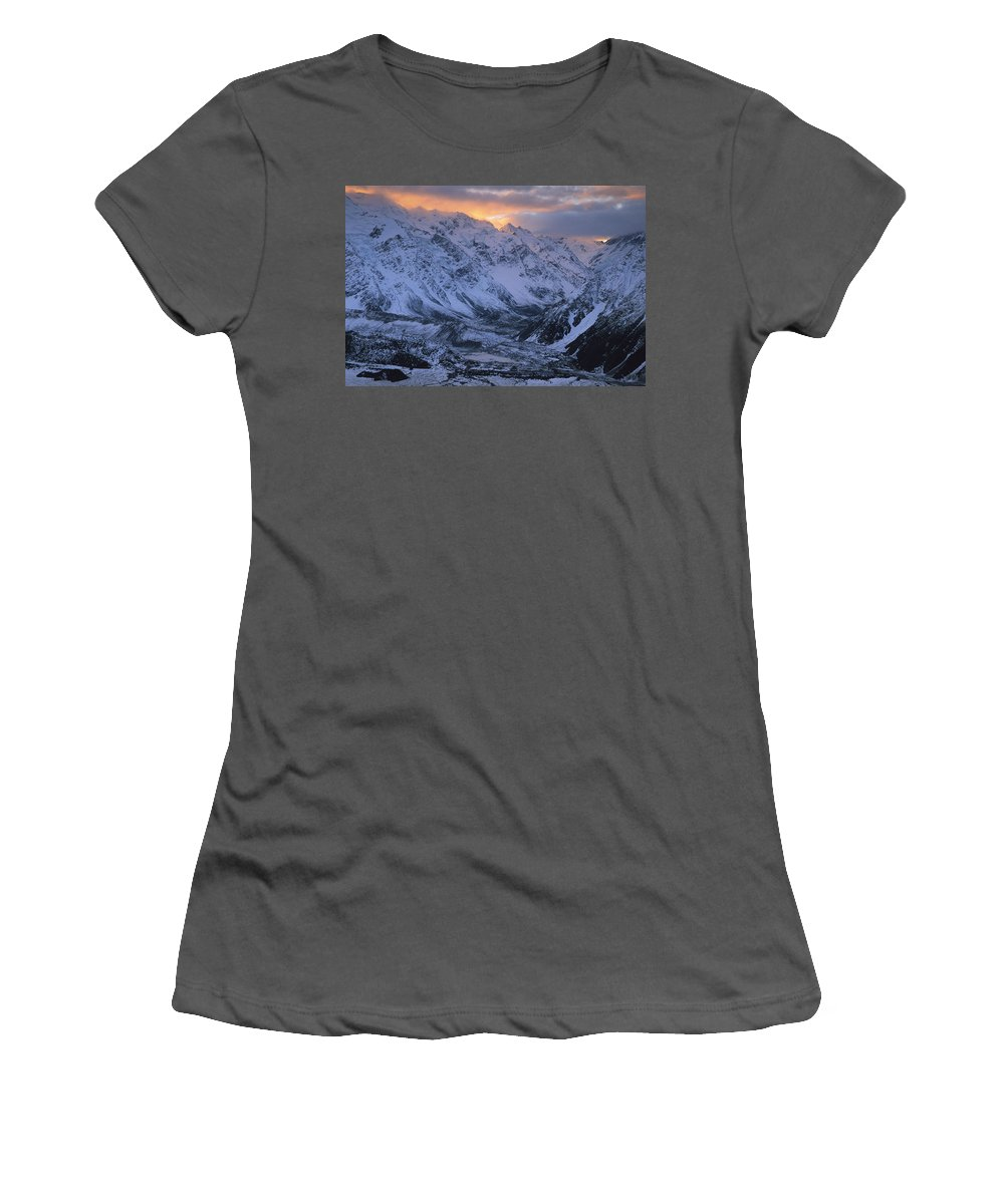 Feb0514 Women's T-Shirt (Athletic Fit) featuring the photograph Sunset Over Mueller Glacier Lake by Colin Monteath