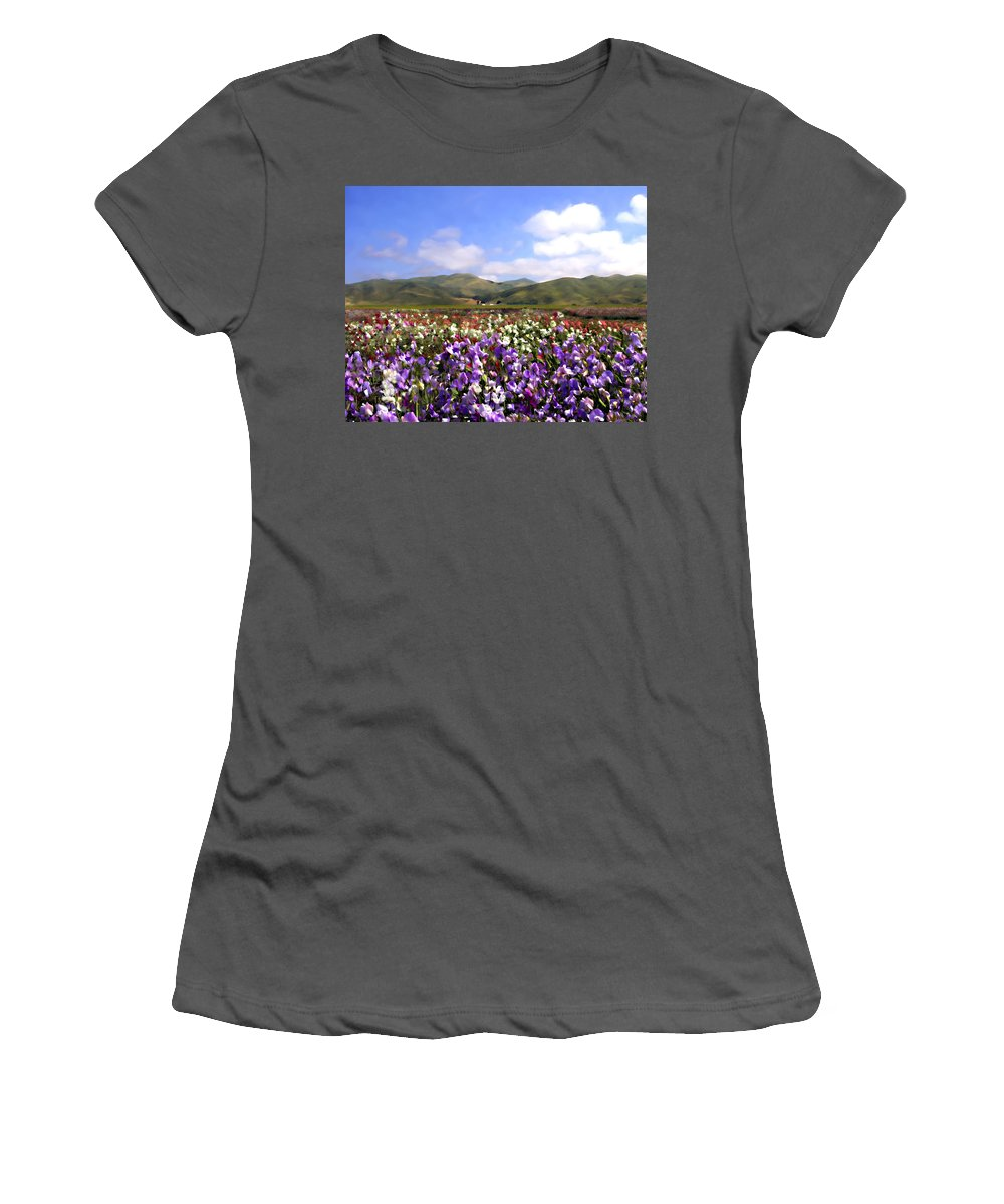 Flowers Women's T-Shirt (Athletic Fit) featuring the photograph Sweet Peas Galore by Kurt Van Wagner