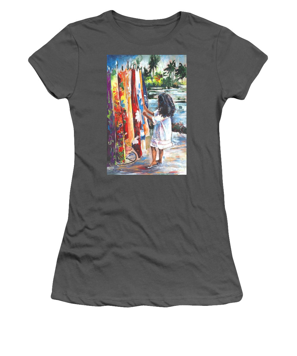 Travel Women's T-Shirt (Athletic Fit) featuring the painting Tahitian Girl With Pareos by Miki De Goodaboom