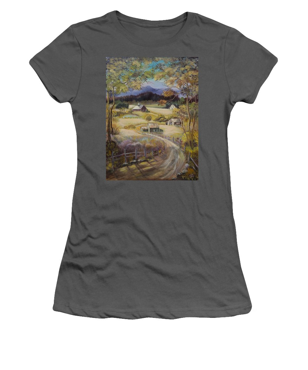 Road Women's T-Shirt (Athletic Fit) featuring the painting Take Me Home by Gladys Berchtold