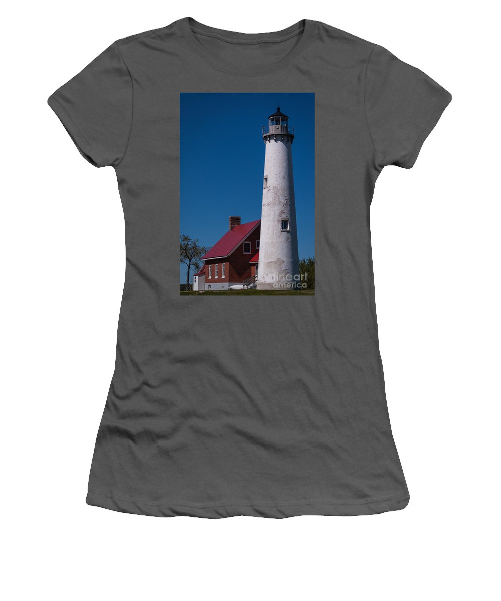 Lighthouse Women's T-Shirt (Athletic Fit) featuring the photograph Tawas Point Lighthouse by Patrick Shupert