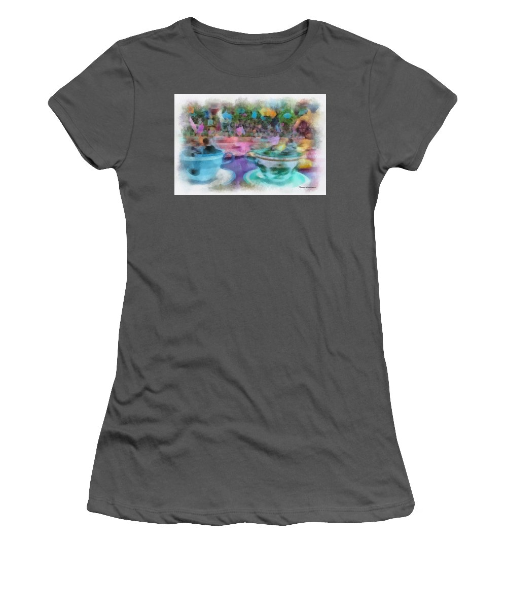 Disney Women's T-Shirt (Athletic Fit) featuring the photograph Tea Cup Ride Fantasyland Disneyland Pa 01 by Thomas Woolworth