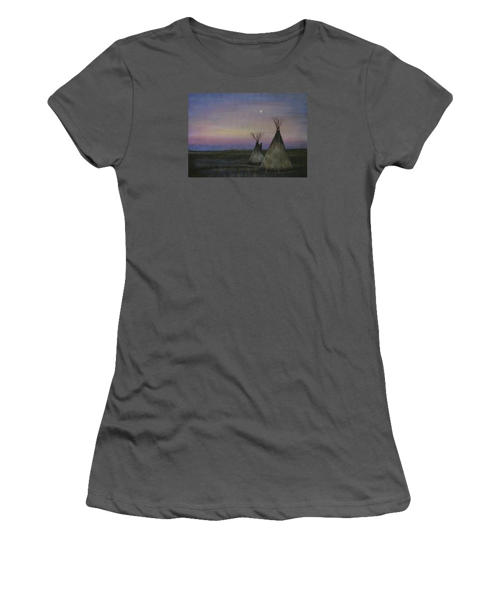Tepee Women's T-Shirt (Athletic Fit) featuring the painting Teepees by Lucy Deane