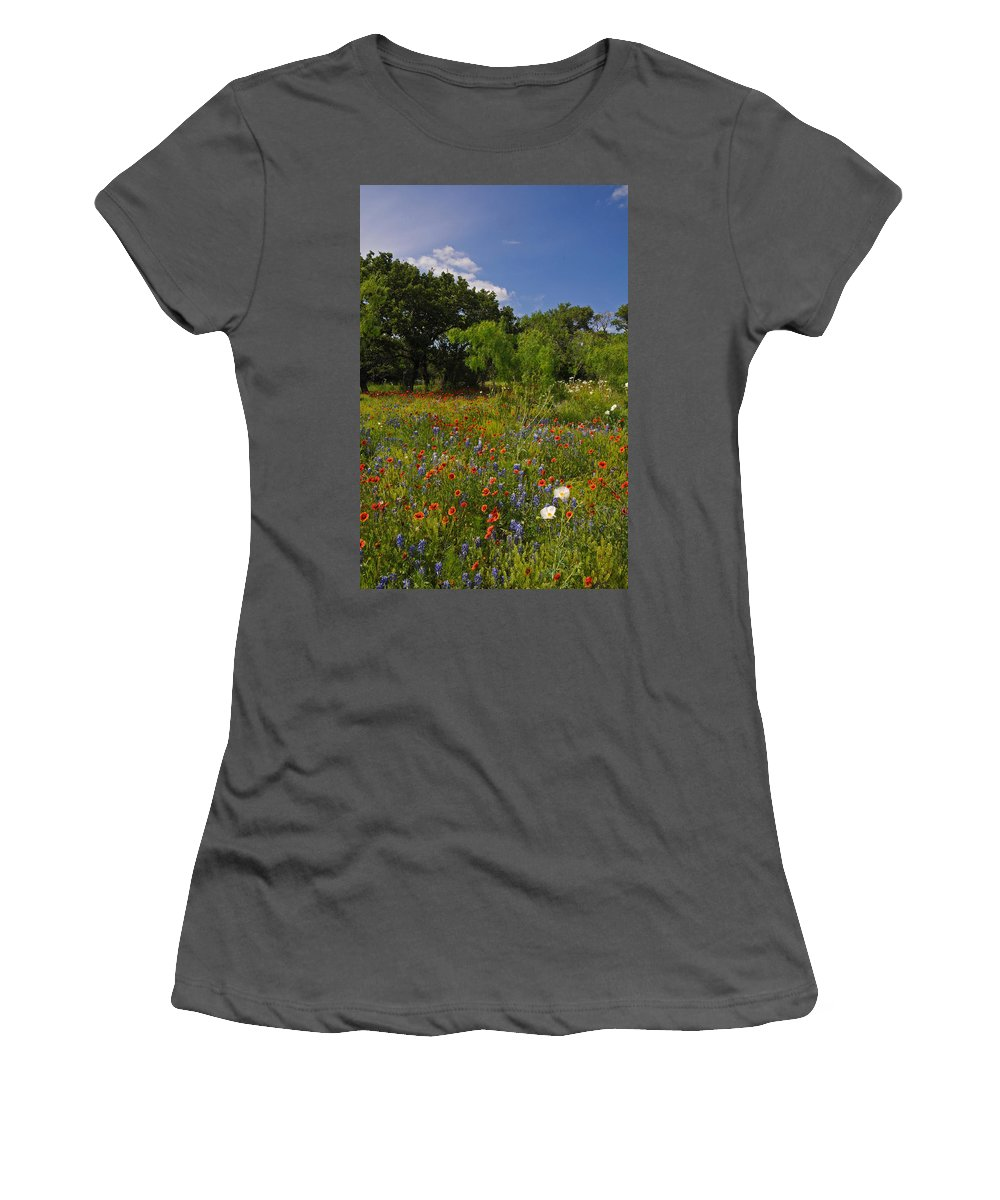 Wildflowers Women's T-Shirt (Athletic Fit) featuring the photograph Texas Spring Spectacular by Lynn Bauer