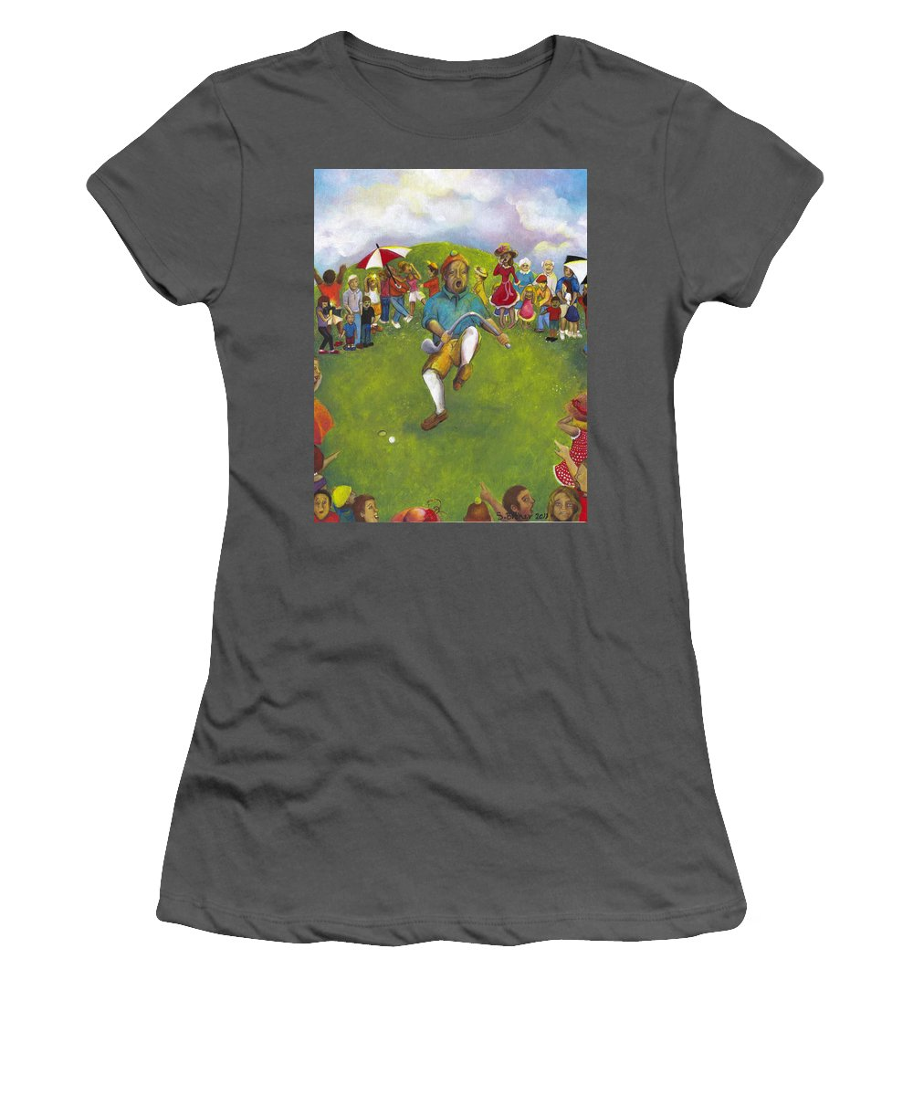 Golf Women's T-Shirt (Athletic Fit) featuring the painting The Angry Golfer by Stephanie Broker