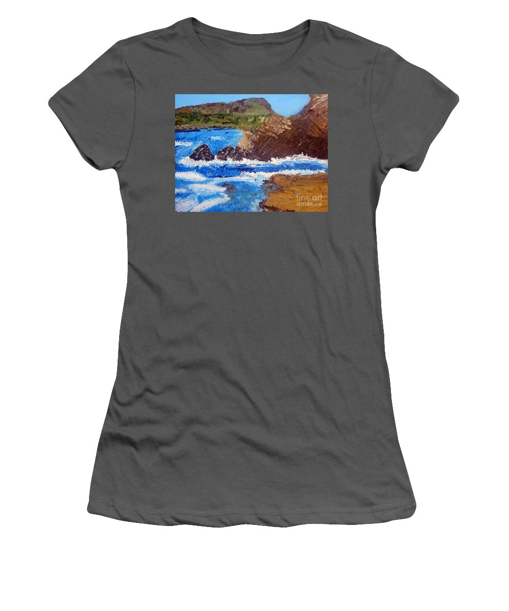 Landscape Painting Women's T-Shirt (Athletic Fit) featuring the painting The Beauty Of Nature by Yael VanGruber