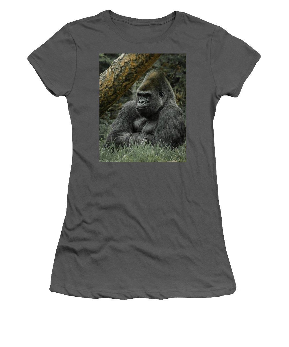 Animals Women's T-Shirt (Athletic Fit) featuring the digital art The Gorilla 3 by Ernie Echols