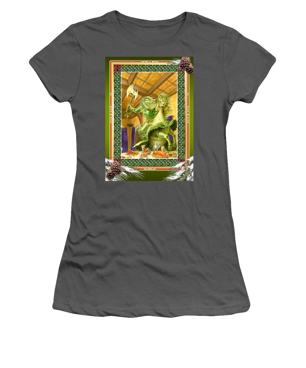 Christmas Women's T-Shirt (Athletic Fit) featuring the painting The Green Knight Christmas Card by Melissa A Benson